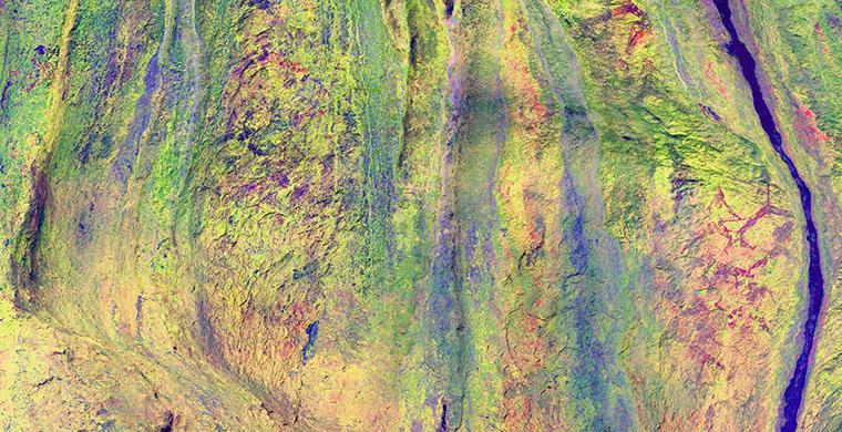 Fris superior, sector esquerre, de Cova Centelles, fals color.