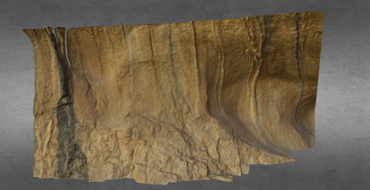 3D model Cova Centelles, left area, upper frieze, real color.