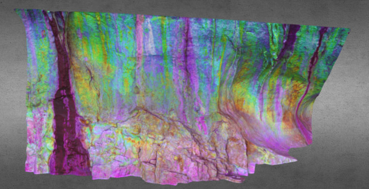 3D model Cova Centelles, left area, upper frieze, false color.