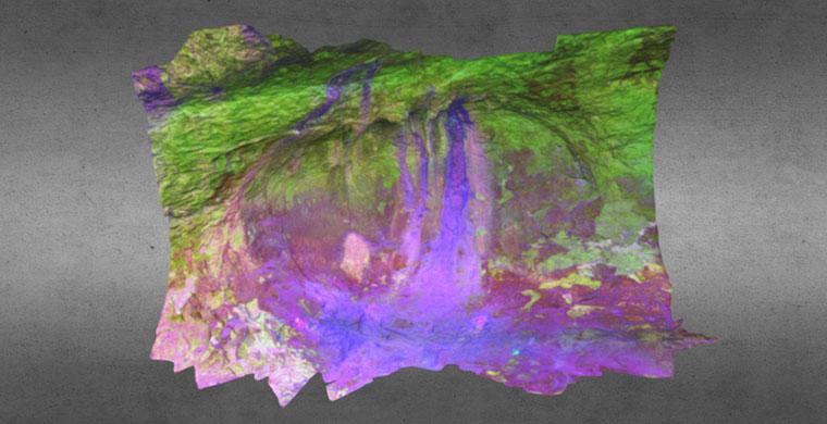 Modelo 3D del sector izquierdo de Cova dels Cavalls, falso color
