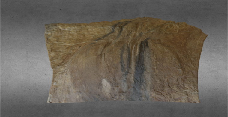 3D model of left hand area of Cova dels Cavalls, real color.