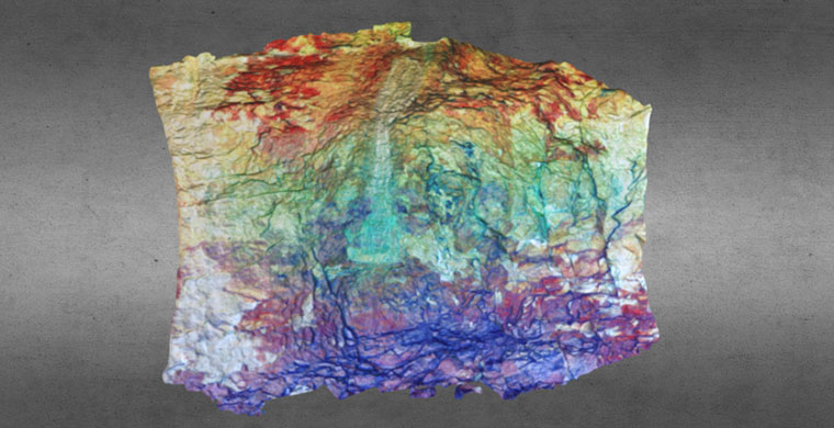 Modelo 3D del sector derecho de Cova dels Cavalls, falso color