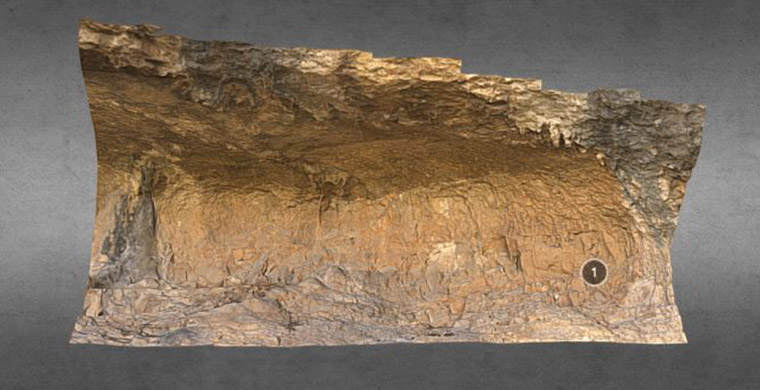 3D model of high hand area of Cova Alta del Lledoner.