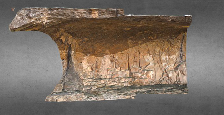 3D model of left hand area of Cova Alta del Lledoner.