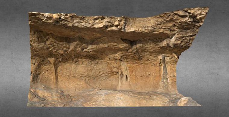 Modelo 3D de la mitad derecha del abrigo II del Racó de Nando.