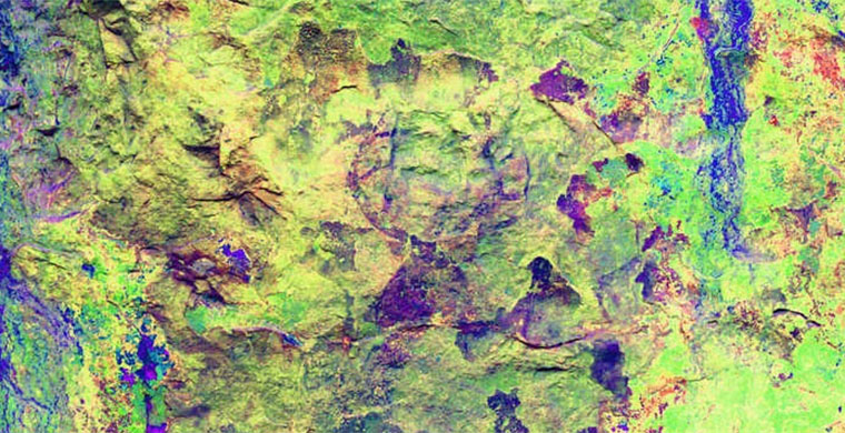 Left hand panel of Cingle dels Tolls del Puntal, false color.